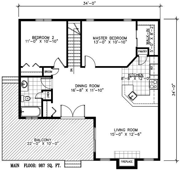 Plano de casa de lago de 2 dormitorios