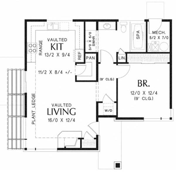 Plano de casa sencilla de 1 dormitorio