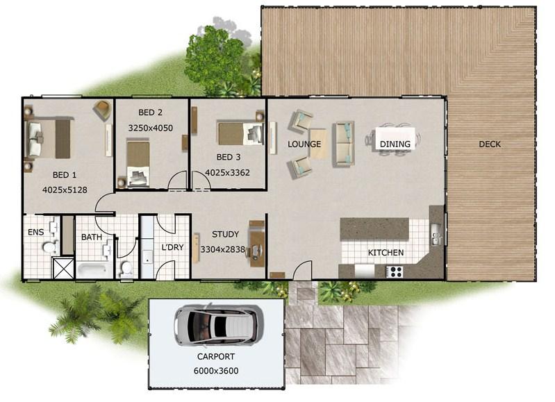 Plano de casa sencilla de 3 dormitorios con cochera
