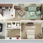 Plano de departamento moderno de una habitación