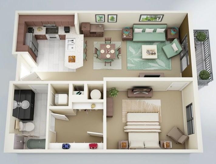 Plano de departamento moderno de una habitacion