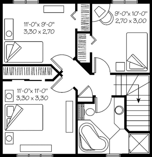 plano de vivienda de 110 metros cuadrados
