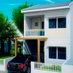 Plano de casa de 106 metros cuadrados con dos pisos
