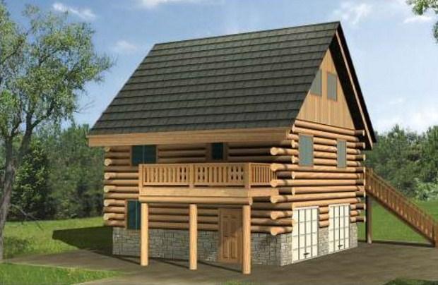 Casa de madera con cochera