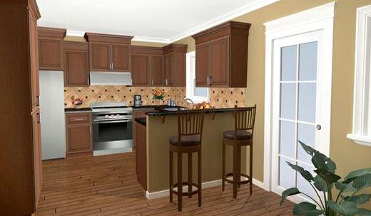 Cocina de casa de 3 dormitorios en un piso