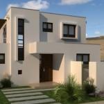Plano de casa minimalista de dos pisos