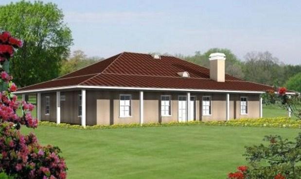 Plano de casa cuadrada con 3 dormitorios