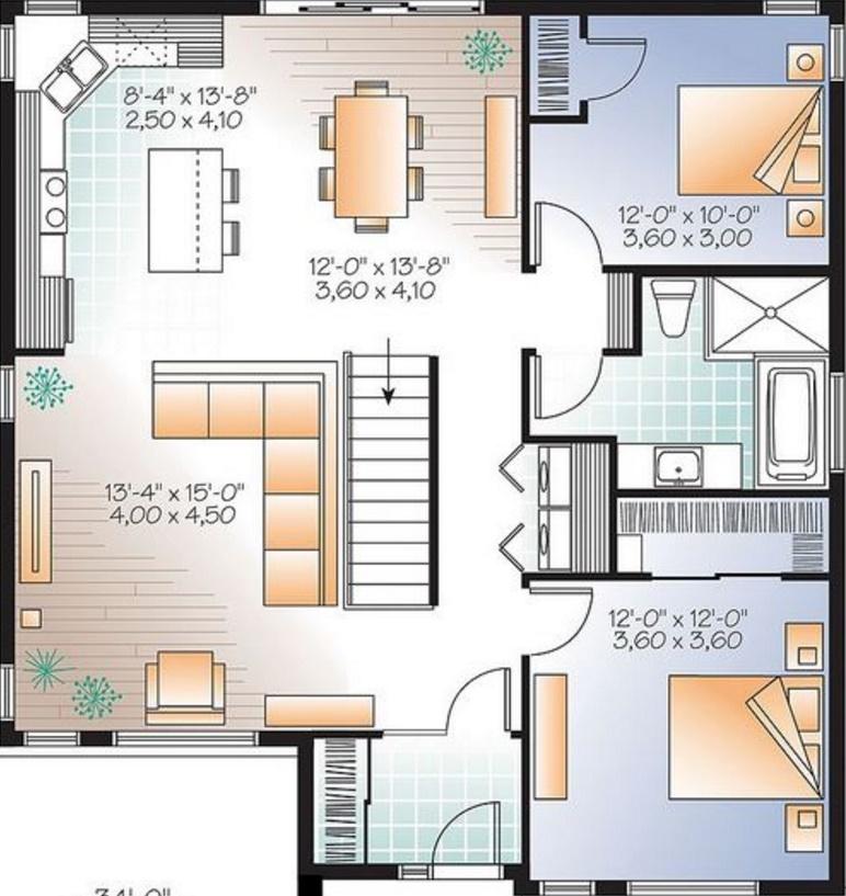 Planos de casas de 100 metros cuadrados dise os for Casa de 40 metros cuadrados