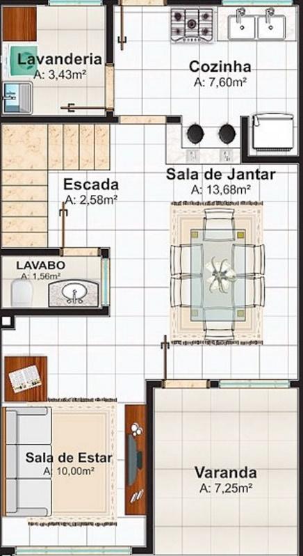 Plano de casa de 106 metros cuadrados con dos pisos - Piso de 60 metros cuadrados ...