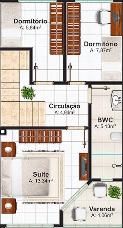 Plano de casa de 106 metros cuadrados