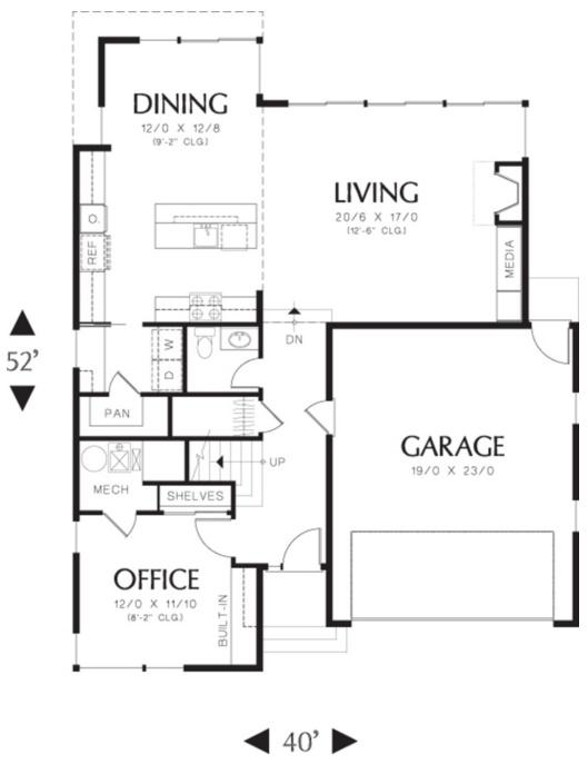 Plano de casa de 2 pisos con garaje