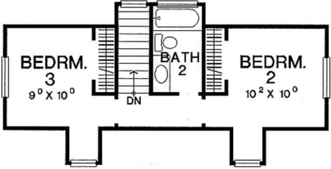 Plano de casa de 3 dormitorios y 2 plantas