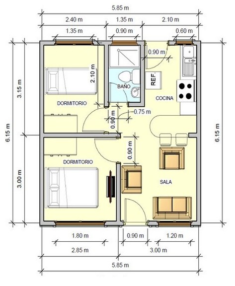 Plano de casa de 6 x 6 m for Dimensiones arquitectonicas