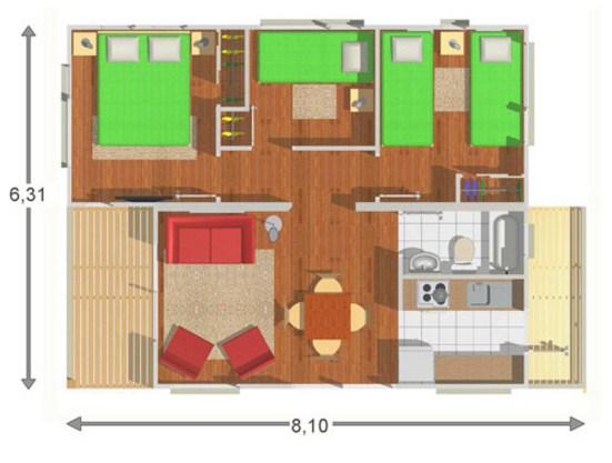 Plano de casa de 6 x 8