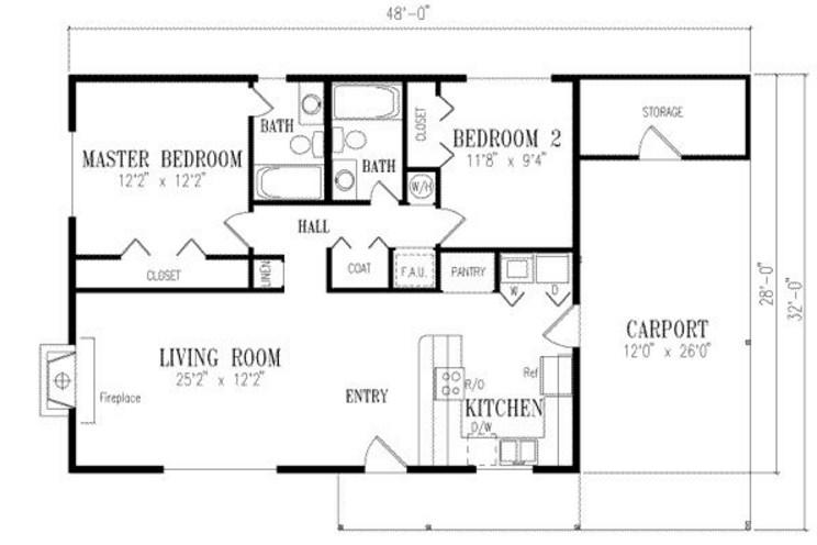 Plano de casa de 8 x 15 m