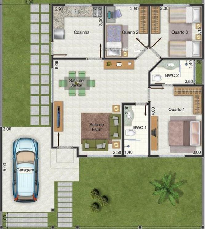 Plano de casa de 90 m2 y 3 dormitorios for Planos casa minimalista 3d