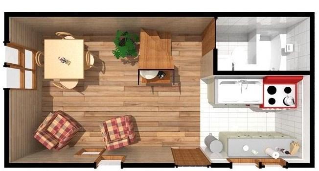 Plano de casa de madera económica y pequeña