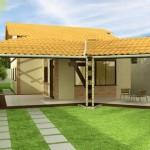 Plano de casa de un piso y cochera doble