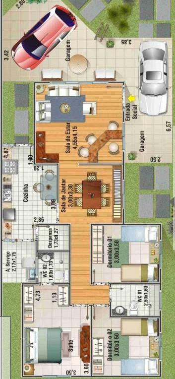 Plano de casa de un piso y cochera doble for Plano casa un piso