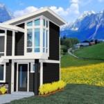 Plano de casa moderna de 1 dormitorio y 2 plantas