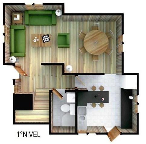 Plano de casa moderna de 3 dormitorios en 2 pisos for Planos para casas de dos pisos modernas