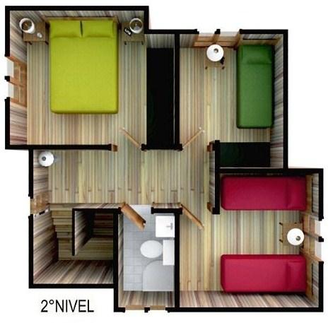 Plano de casa moderna de 3 dormitorios en 2 pisos - Plantas para dormitorio ...