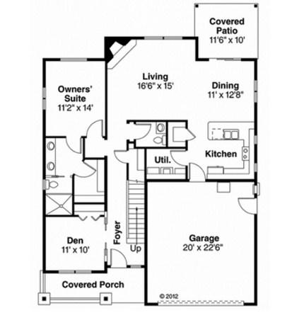 Plano de casa pequeña con oficina