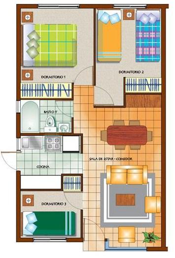 Plano De Casa Sencilla De 3 Dormitorios