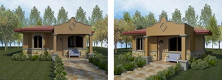 Plano de casas de dos dormitorios con medidas en metros