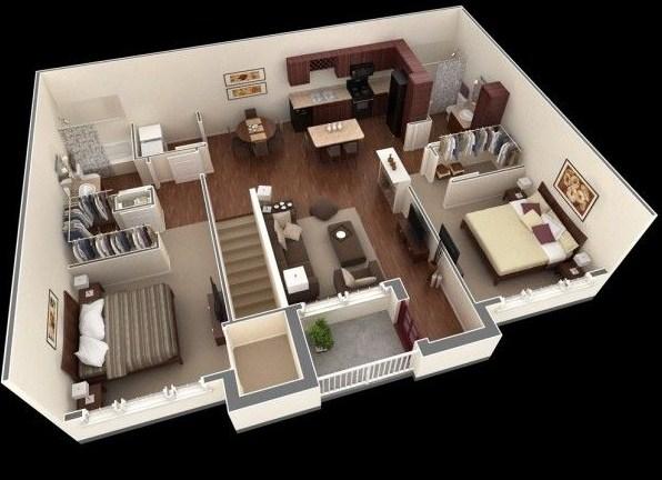 planos de casas 2 dormitorios 3d