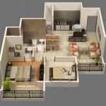 Plano de departamento de 2 habitaciones