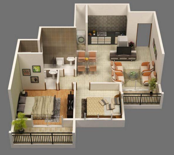 Plano de departamento de 2 habitaciones for Modelos de departamentos pequenos para construir