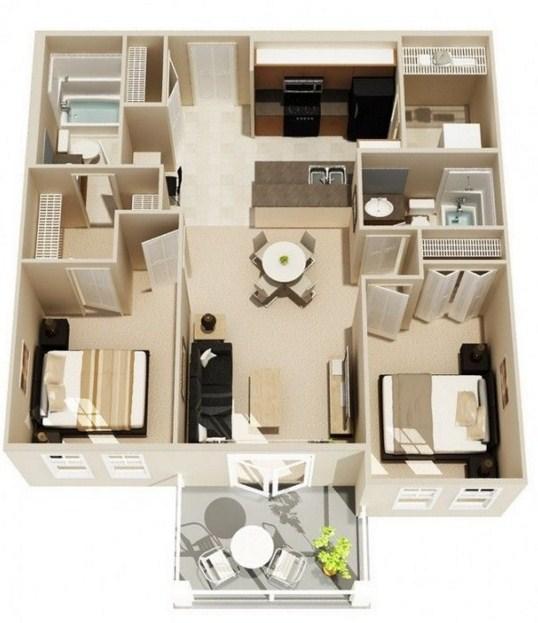 Plano de departamento de 60 metros cuadrados