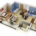 Plano de departamento de 65 m2