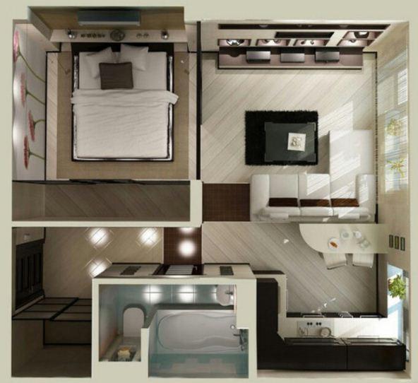 Plano de departamento moderno de 1 dormitorio for Plano departamento 2 dormitorios