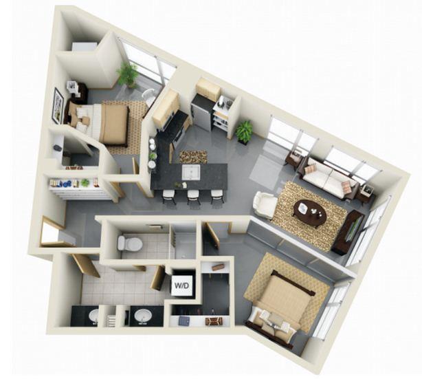 Plano de departamento moderno irregular for Diseno de apartamento de una habitacion