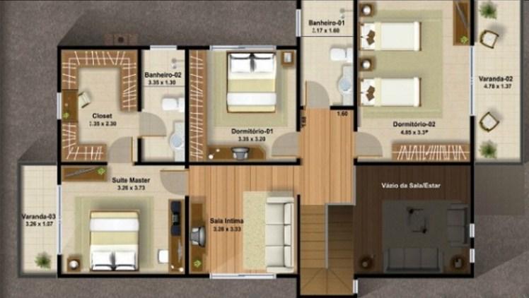 Plano de duplex de 3 habitaciones