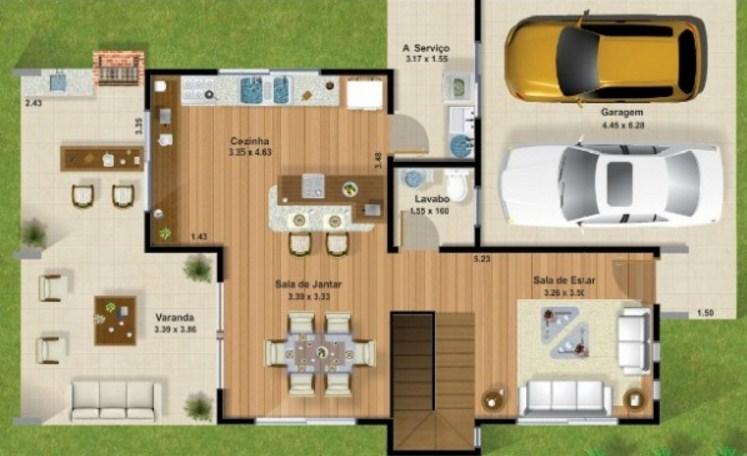Plano de duplex moderno for Casa moderna 3 habitaciones