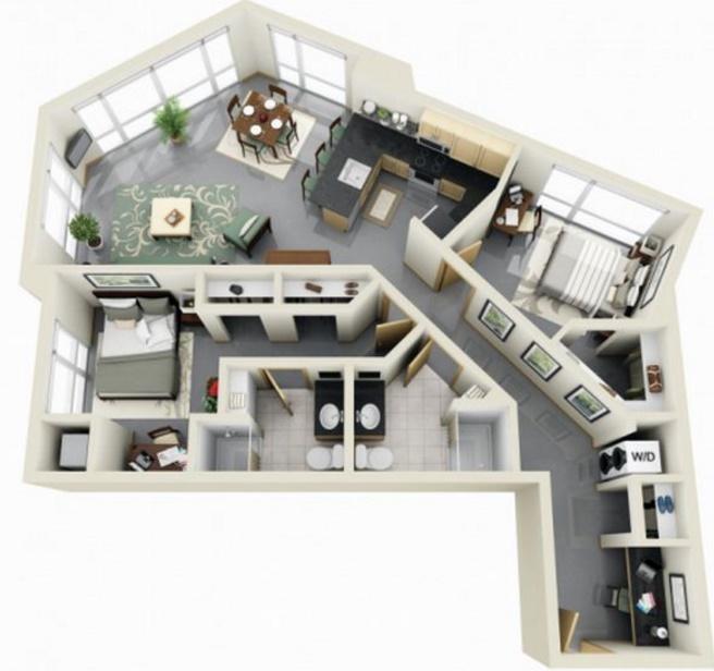 Planos de apartamentos modernos for Diseno de interiores departamentos modernos