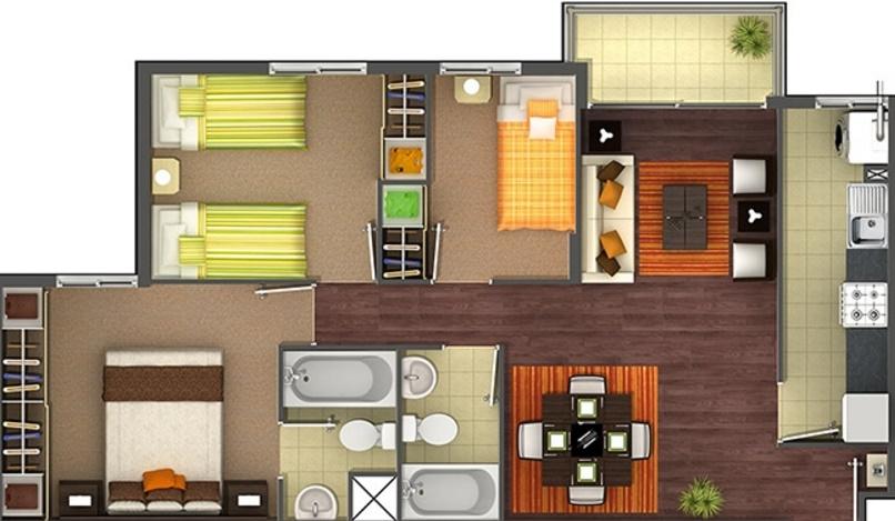 Planos de apartamentos de 3 habitaciones for Diseno de apartamento de 4x8 mts