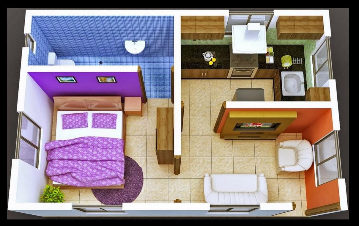 Plano de departamento de un dormitorio en 40 m2 for Diseno de apartamento de una habitacion