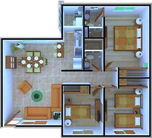 Planos de apartamentos de 3 habitaciones for Planos de apartamentos modernos