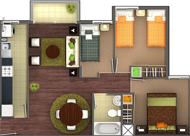 Planos de apartamentos de 3 habitaciones for Diseno de apartamento de una habitacion