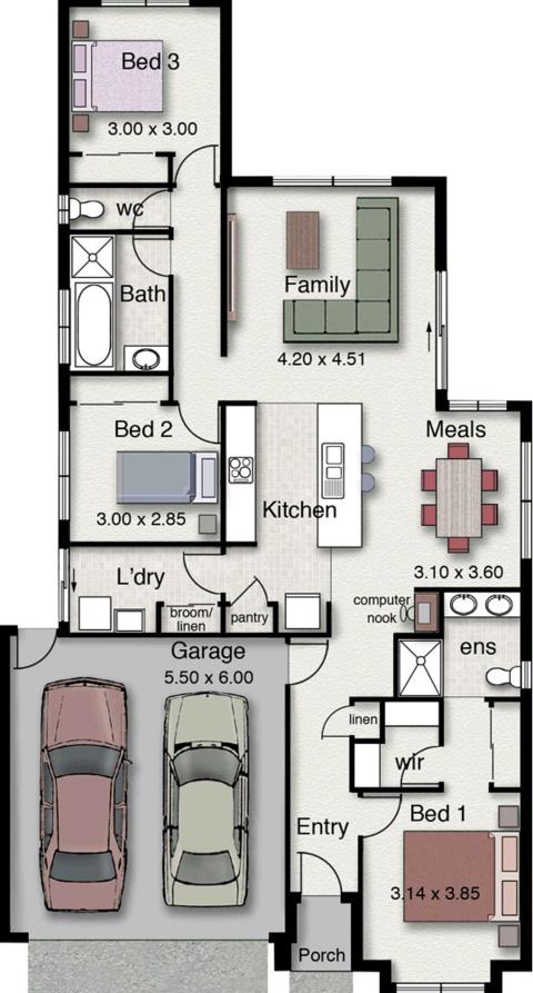 Planos de casa de una planta for Planos casas modernas 1 planta