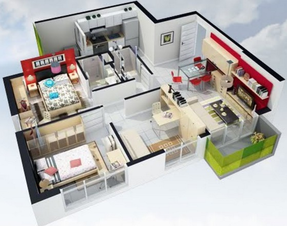 diseño de apartamento con muebles