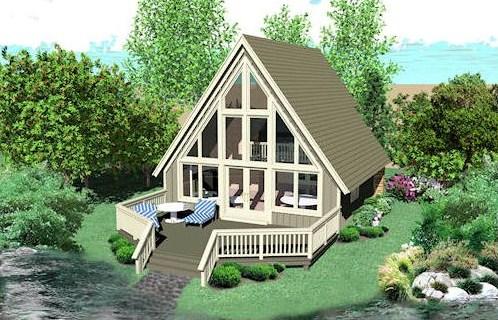 Casa alpina con terraza de madera