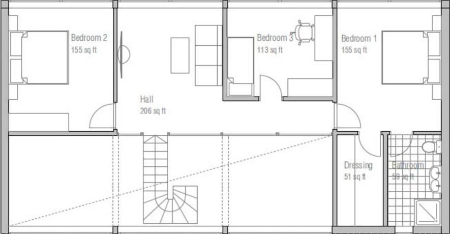 Casa con techo voladizo y amplios ventanales