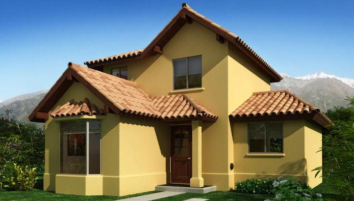Plano de casa de estilo colonial moderno for Modelos de techos para casas de dos pisos
