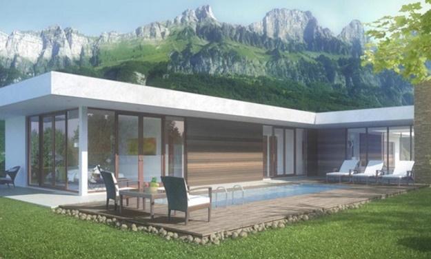 Casa con ventanales for Casas en ele planos