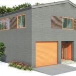 Plano de casa de dos pisos y 160 metros cuadrados con cochera